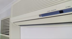Gas heater next to a split system air conditioner/heater