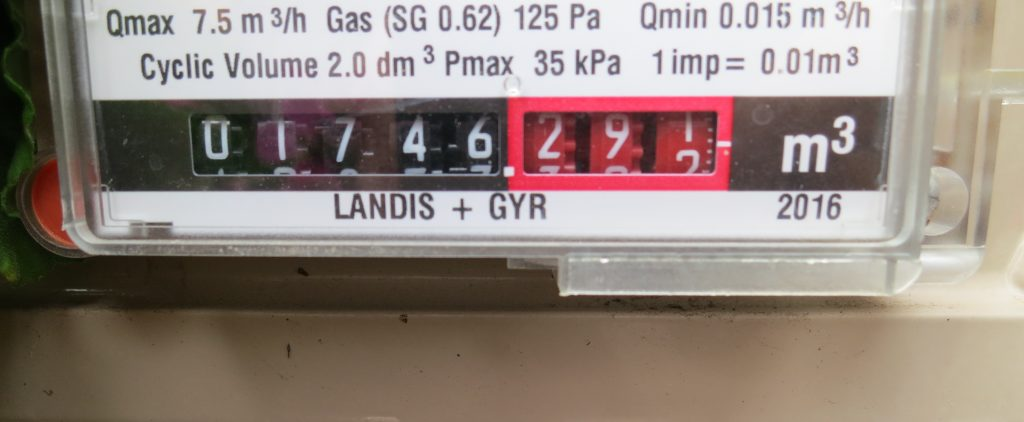 Close up view of a gas meter