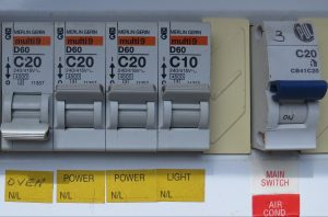 Circuit breakers on a switchboard