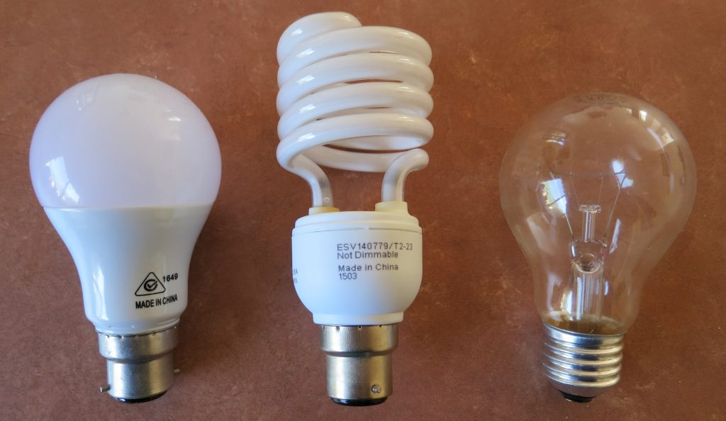 Left to right: LED, CFC and incandescent