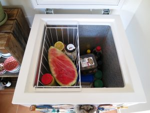 Overhead view of chest freezer converted into a fridge