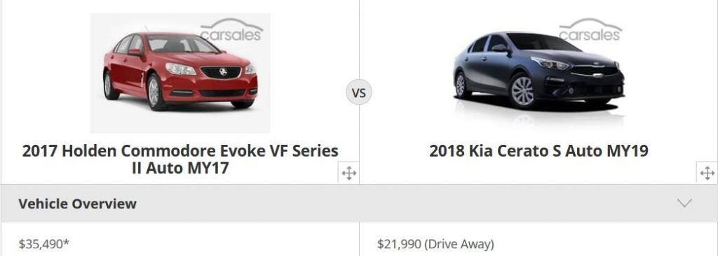 Screenshot of a comparison between a 2017 Holden Commodore and a 2018 Kia Cerato
