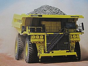 Large dump truck carrying coal