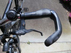 Bike handlebars with bar end fitted